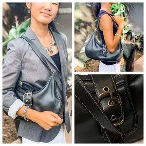 Coach Black Leather Hobo Shoulder Handbag.